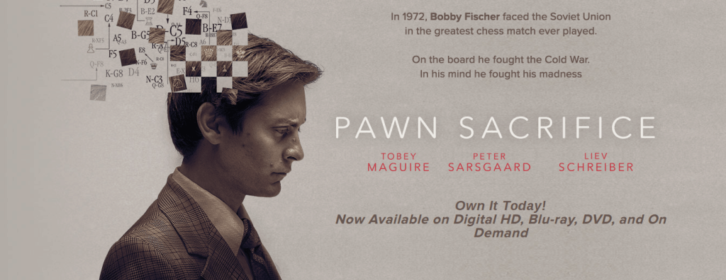 Poster van Bobby Fisher (gespeeld doorTobey Maguire) in film Pawn Sacrifice van Bleecker Street